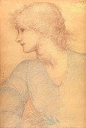 Head Drawings Framed Prints - Study in Colored Chalk Framed Print by Sir Edward Burne-Jones