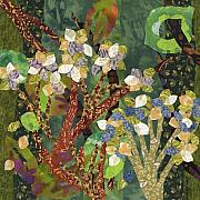 Fabric Mixed Media - Study in Hydrangeas by Julia Berkley