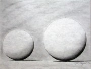 Balls Drawings Posters - Study In Spheres and Shadows Poster by J R Seymour
