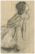 Degas Drawings Framed Prints - Study of a Dancer Scratching Her Back Framed Print by Edgar Degas
