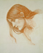 Sketch Drawings Prints - Study of a Girls Head Print by John William Waterhouse