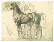 Degas Drawings Framed Prints - Study of a Horse with Figures Framed Print by Edgar Degas