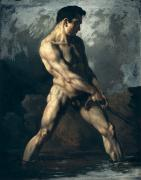 Athlete Paintings - Study of a Male Nude by Theodore Gericault