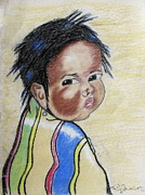 Study Of A Navajo Child  2 Print by Julie Coughlin