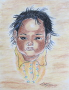 Study Of A Navajo Child  3 Print by Julie Coughlin
