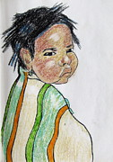Julie Coughlin Framed Prints - Study of a Navajo Child  4 Framed Print by Julie Coughlin