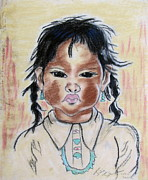 Julie Coughlin Framed Prints - Study of a Navajo Child Framed Print by Julie Coughlin