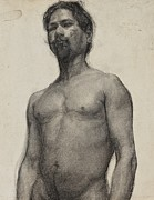 Nudes Drawings - Study of a Negro Man by Henry Ossawa Tanner