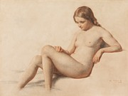 Breasts Drawings Posters - Study of a Nude Poster by William Mulready