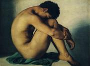 Seated Painting Prints - Study of a Nude Young Man Print by Hippolyte Flandrin