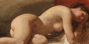 Full Body Paintings - Study of a reclining female nude by EW Wyon