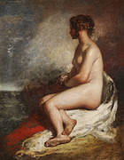 Nudes Painting Prints - Study of a Seated Nude Print by William Etty