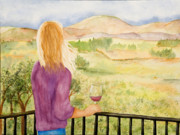 Wine Country Watercolor Paintings - Study of a wine ad by Vicki  Housel