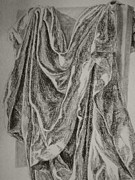 Coal Drawings Prints - Study of draped fabric Print by Nadja Pilitsyna