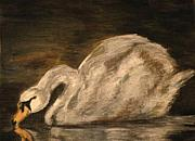 Animal Pastels Pastels Prints - Study of Edgar Degas Swan Print by Simz Zucca