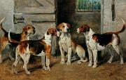 1843 Framed Prints - Study of Hounds Framed Print by John Emms