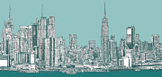 Building Drawings Framed Prints - Study of New York City in Turquoise  Framed Print by Lee-Ann Adendorff