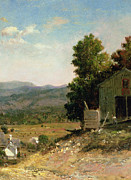 Old England Painting Prints - Study of Old Barn in New Hampshire Print by George Loring Brown