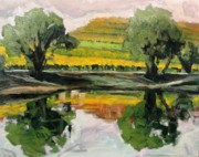 Nature Study Painting Posters - Study of Reflections and Vineyard Poster by Kevin Davidson
