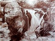 Wales Drawings - Study of Rocks at Betws-y-Coed by Harry Robertson
