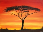 Masai Paintings - Study of Sunset 2 by Abu Mwenye