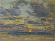 Sun Pastels Posters - Study of the Sky with Setting Sun Poster by Eugene Louis Boudin