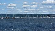 Dazzleme Photography Acrylic Prints - Study of White on Blue Sailboats Clouds and Seagulls Acrylic Print by DazzleMe Photography