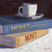 Red Posters - Studying Monet Poster by Christopher Mize