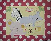 Polka Drawings Prints - Stuffed Animals Print by Valerie Chiasson-Carpenter