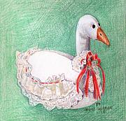 Geese Drawings Metal Prints - Stuffed Goose Metal Print by Arline Wagner