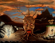 Surreal Landscape Painting Metal Prints - Stump Head Metal Print by Chris Benice