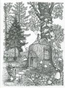 Wilderness Drawings Posters - Stumptown Lodgings Poster by Bill Perkins