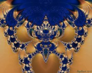 Gold Necklace Digital Art Prints - Stunningly Sapphire Print by Nancy  Bowen