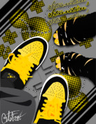 Jordans Framed Prints - Stuntin Bumble Bees Framed Print by Devin Green