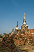 Blue Brick Prints - Stupas chedis of a Wat in Ayutthaya Print by Ulrich Schade