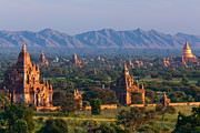 Bagan Photos - Stupas On The Plains Of Bagan, Myanmar Bagan Archaeological Zone by Mint Images/ Art Wolfe