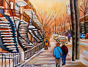 Cityscapes Paintings - St.urbain Street Walk In Winter by Carole Spandau