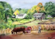 Village Pastels Prints - Sturbridge Village Print by Linda Bryant