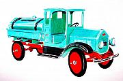 Iron  Drawings Prints - Sturdi Sprinkler Truck Print by Glenda Zuckerman