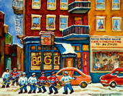 Snowfall Paintings - St.viateur Bagel Hockey Montreal by Carole Spandau