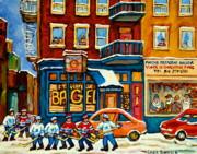 St.viateur Bagel Hockey Montreal Print by Carole Spandau