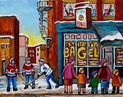 Montreal Bagels Framed Prints - St.viateur Bagel Montreal Street Scene With Hockey Framed Print by Carole Spandau