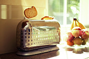 Toaster Prints - Stylish Chrome Toaster Popping Up Toast Print by Kelly Sillaste