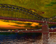 Digitally Altered Prints - Stylized Bridgework Print by Ross Powell