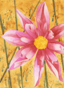 Floral Watercolor Painting Originals - Stylized Dahlia by Ken Powers