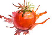 Vegetables Paintings - Stylized illustration of tomato by Regina Jershova