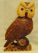 Wood Carving Sculpture Posters - Stylized Owl Poster by Russell Ellingsworth