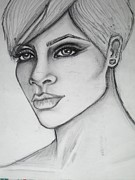 Rihanna Drawings - stylized portrait of Rihanna by Dana Biviano