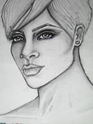 stylized portrait of Rihanna Print by Dana Biviano