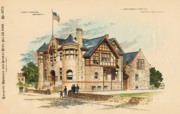 Police Painting Framed Prints - Sub Police Station. Chestnut Hill PA. 1892 Framed Print by John Windrim
